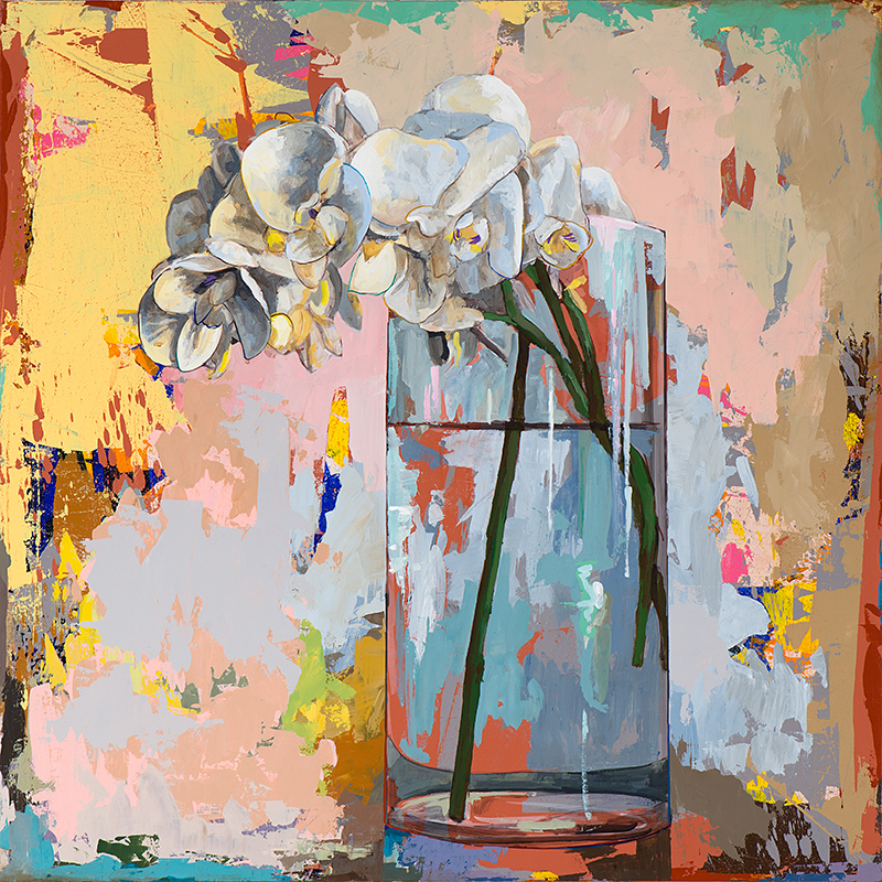Flowers 3, painting by Los Angeles artist David Palmer, acrylic on canvas, art