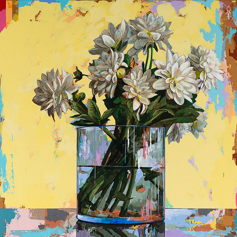 Flowers 19, painting by Los Angeles artist David Palmer, acrylic on canvas, art