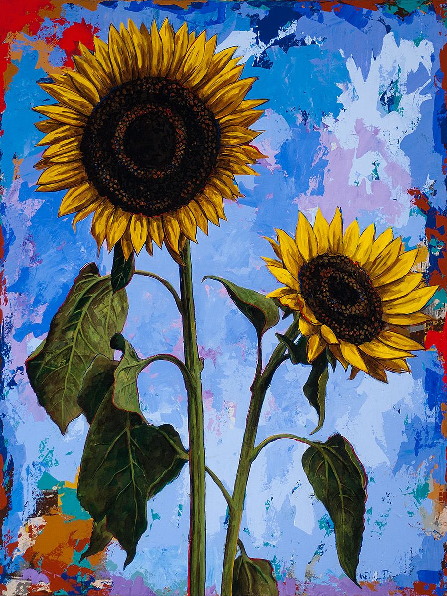 Sunflower 1, painting by Los Angeles artist David Palmer, acrylic on canvas, art