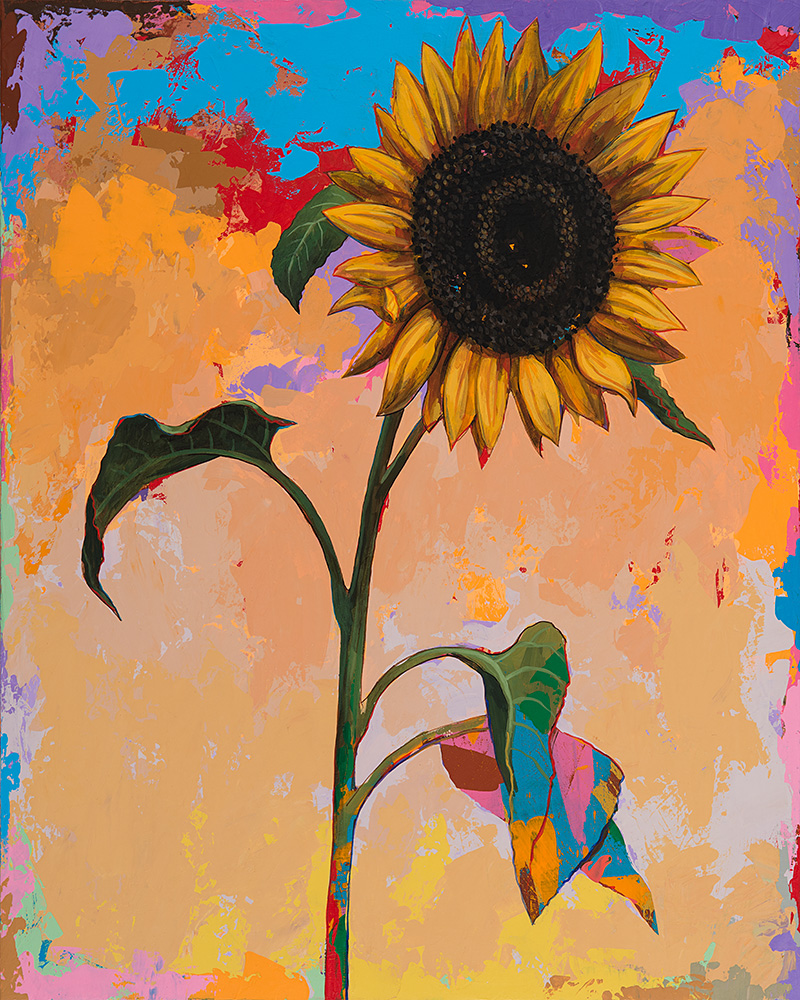 Sunflowers 3, painting by Los Angeles artist David Palmer, acrylic on canvas, art