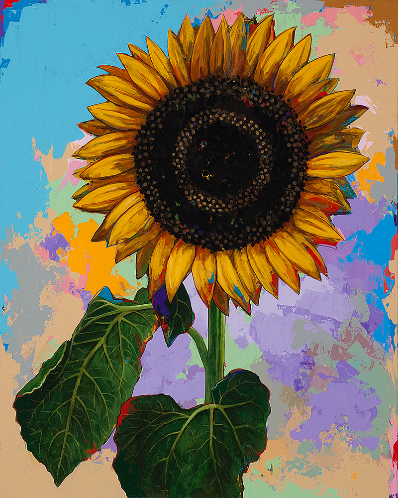 Sunflowers 4, painting by Los Angeles artist David Palmer, acrylic on canvas, art