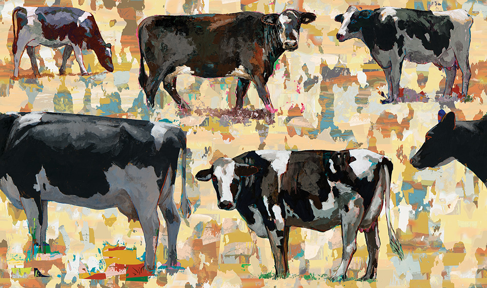 cow 1 retro Pop Art wallpaper by Los Angeles artist David Palmer for ROLLOUT